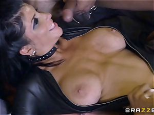 harsh in rubber Romi Rain gets screwed by 3 steamy hard-ons