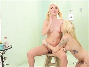 2 super-naughty lesbians Jana Jordan and Aaliyah enjoy shower bang-out