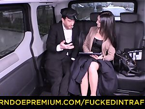 boinked IN TRAFFIC - German honey pounded by taxi driver