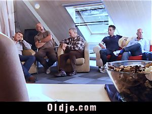 6 oldman pounding in gang a splendid sizzling blond