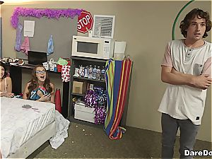 lucky bastard pummels 4 teenager angels in a dormitory apartment