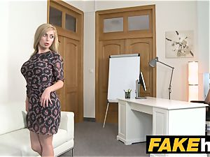 fake Agent steamy ash-blonde giant funbags Russian gets a facial cumshot