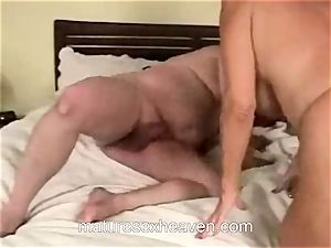 grandmother riding meaty man meat