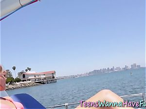 teenagers throating at river pov
