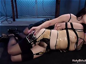 sweetie gets corded and handled with playthings