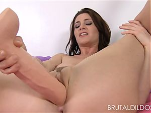Cici Rhodes penalizes her pinkish beaver with cruel faux-cocks