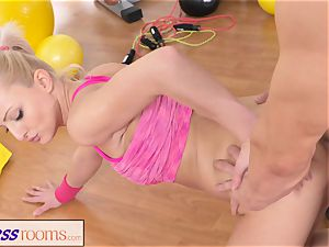 FitnessRooms Bendy light-haired bends Over for her Trainer
