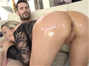 Abbey Brooks lubed up and analled