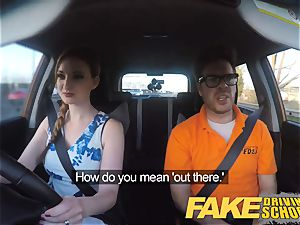 fake Driving college Nerdy red-haired teenage schoolgirl