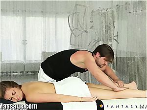 wifey Maddy O'Reilly gets a massage and some jizm