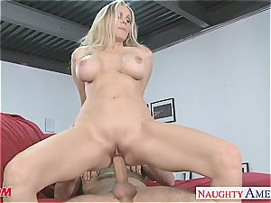 luxurious blonde mother Julia Ann gets enormous melons romped