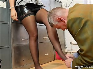 gorgeous bosses turn office pervert into foot adore marionette