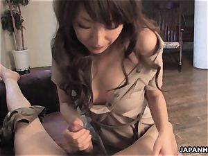 splendid japanese is aroused to gargle and ride in point of view