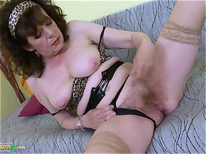 OldNannY supreme Mature unshaved slit plaything masturbation