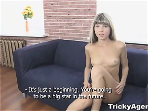 Tricky Agent - faux blond damsel is super hot and well-prepped to plow