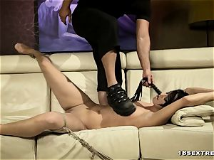 2 super-hot fellows penetrates a dame in bondage