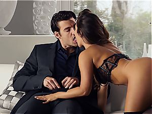 spectacular Eva Lovia is training her boyfriend some manners before the soiree