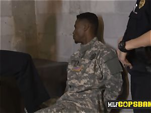 Impostor soldier is forced into penetrating abnormal milf cops