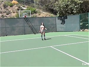 sans bra tennis with Dani Daniels and Cherie DeVille