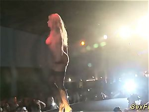 My big-boobed German stepmom nude on stage