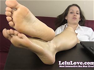 secretary taunts and teases you with her bare feet
