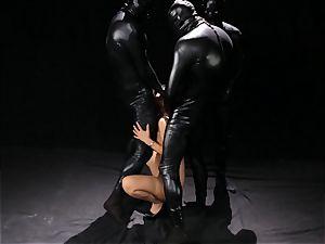 Asa Akira gets mass ejaculation from three rubber clad folks