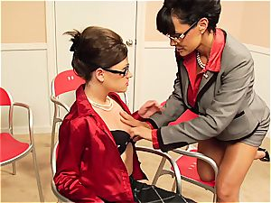 Lisa Ann taunting her coworker's unshaved honeypot