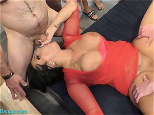 super-steamy group sex with big-chested Ashley spunk star