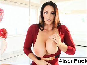 Alison Tyler celebrates Valentine's Day by milking