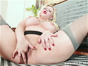 curvy blondie strokes in grey nylons and high high-heeled slippers