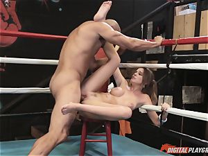 Alexis Adams cunt puckered in the boxing ring by meaty man-meat