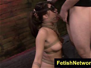 FetishNetwork Mena Li trussed rails sybian saddle