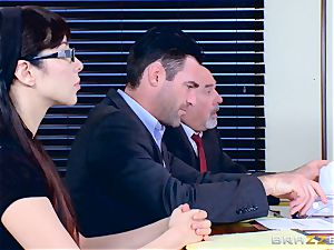 Chanel Preston deepthroating on Charles Deras yam-sized man meat